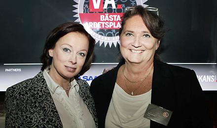Na slici: Camilla Wagner, Voditeljica Veckans Affärer Kvinna i Lena Olving, potpredsjednica u Saabu