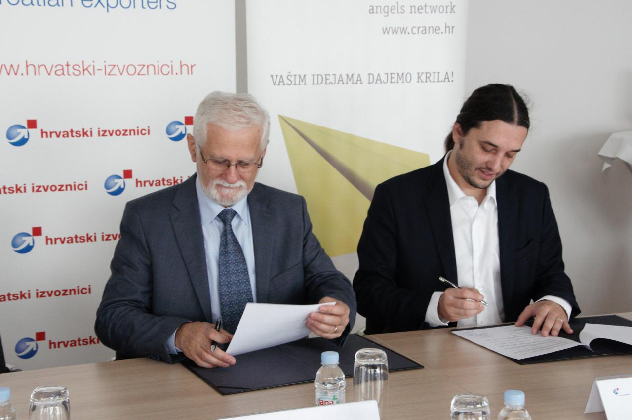 Hrvatska mreža poslovnih anđela (CRANE) i Hrvatski izvoznici (HIZ)  potpisali Sporazum o suradnji u Zagrebu, dana 26. listopada 2017.g.