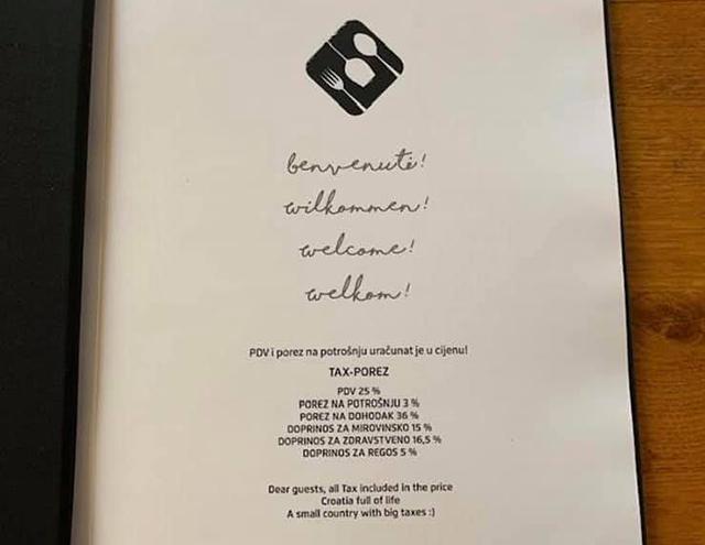 Hrvatski ugostitelj na meniju restorana objavio koje sve poreze plaća državi