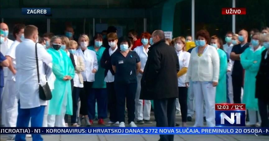 Prosvjed medicinskih djelatnika ispred KB Dubrave: 'Izgaramo! Malo nas je'
